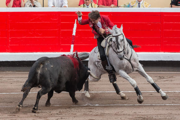 Pablo Hermoso de Mendoza fighting in the Bilbao bullring