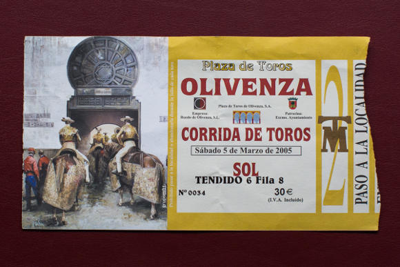 Bullfighting ticket
